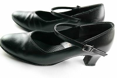 Womens sz 8 TicTacToes Latin Black Leather Modern Ballroom Dance heels Shoes