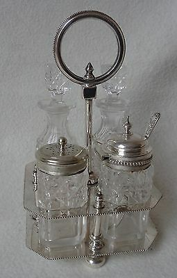 Edwardian Cut Glass Cruet Set with Silver Plated Lids and Stand c.1910