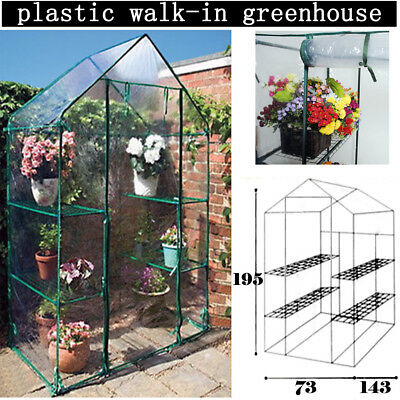 Alondy Mini Walk in Greenhouse PVC Plastic Cover Garden Grow with 4 Shelves New