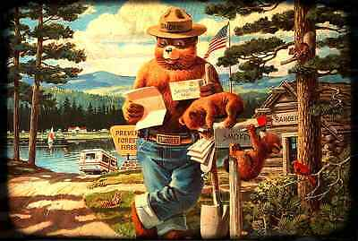 Smokey Bear Checking Mail! Licensed U.s. Forest Service Metal Sign Made In Usa!
