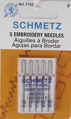 Schmetz Embroidery Needles, F, 130/705 H-E Stepp-Nadel Embroidery Needles