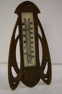 Vintage Thermometer Old Art Deco Mild Glass Bronze Finish Beautiful Lady