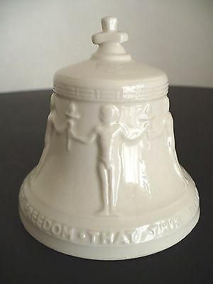 "Vintage Goebel Freedom Bell White Porcelain Germany ""That This World Under God…"""