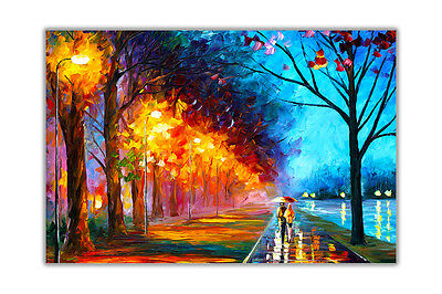 AT54378D Alley By The Lake By Leonid Afremov Abstract Poster Prints Wall Art