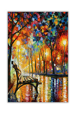 AT54378D Loneliness Autumn By Leonid Afremov Poster Art Oil Painting Reprint