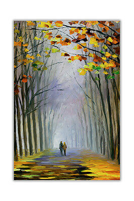 AT54378D Autumn Fog By Leonid Afremov Oil Painting Re-print Abstract Poster Art