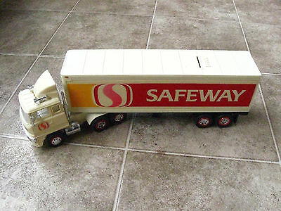 """14"""" plastic Safeway Semi Truck toy and money bank with working lights.  White"""