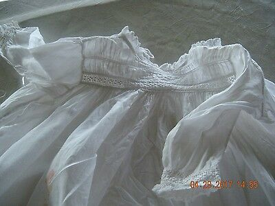 """Antique BABY DRESS Christening GOWN 36"""" long great for Antique dolls Vintage"""