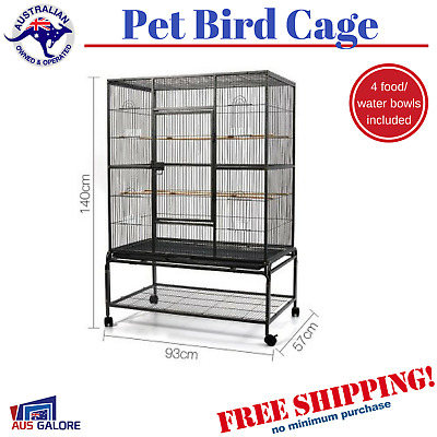 Bird Pet Cage 140cm Large Wrought Iron Aviary Stand Alone Perch Castor Wheels