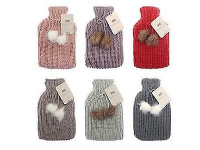 Large Hot Water Bottle Chunky Knitted pom pom warm cozy bed winter hot bottles