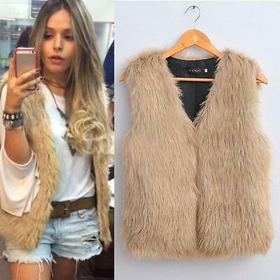 Women Long Hair Sleeveless Vest Warm Soft Coat Outerwear Jacket Waistcoat CA