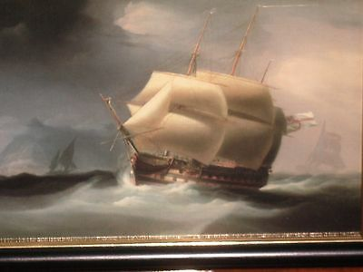 A Beautiful Two Decker Sailing Ship In Gibraltar By William J Huggins A Print