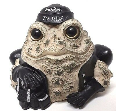 Born To Ride Motorcycle Biker Frog -Toad Hollow Cycle Works Resin Rider Figurine