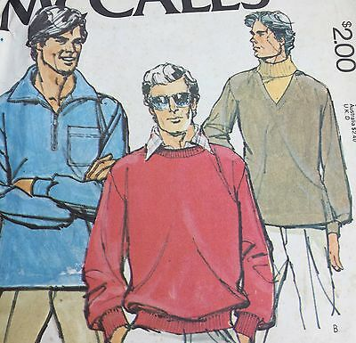 McCalls Sewing Pattern 6346 Mens Tops Stretch Knit Large Pullover 3 Styles