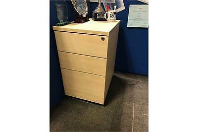 Office Commercial Grade Desk High PEDESTAL  with 2 drawers + 1 file BEECH colour
