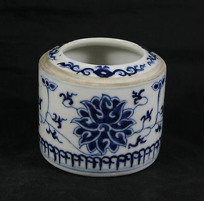 Antique Chinese Porcelain Brush Pot / Water Pot Blue & White 19th Century