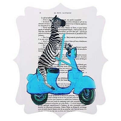 DENY Designs Coco de Paris, Zebra On Blue Vespa, Quatrefoil Clock, Medium