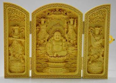 Decorated Boxwood Highly Difficulty Carved Floding Box -- Maitreya Buddha