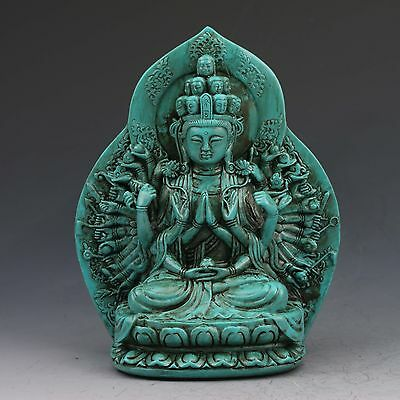 Chinese Turquoise Hand-carved Multi-hand Guanyin Statue  G1017