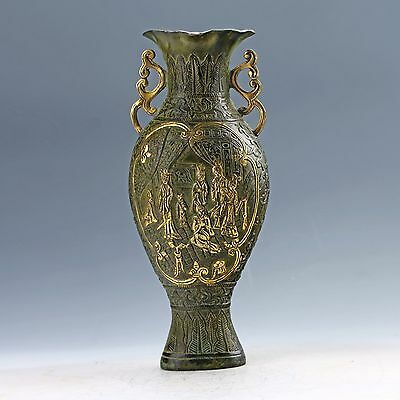 Chinese Bronze Hand-carved Beautiful Girl Vase W Qing Generation  Mark D1162