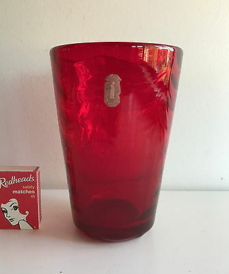 whitefriars glass ruby red swagged glass large vase design by marriott powell