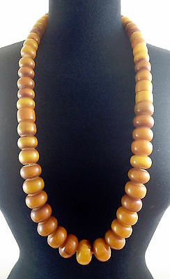 Antique 1930's Tribal African Mali Long Strand Manmade Amber x50 Bead Necklace