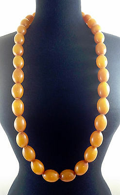 Antique 1930's Mali Tribal African Long Strand Simulated Amber x30 Bead Necklace