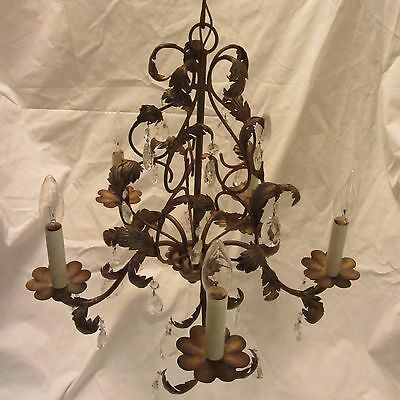 Antique Vintage Italian Style Brass Chandelier with Crystals and Floral Design