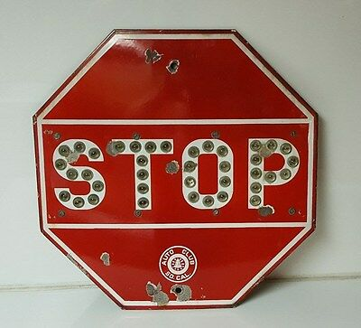 Porcelain Stop Sign Glass Bead Reflectors AAA Southern California Route 66 auto