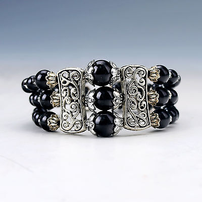 Chinese Natural Obsidian & Tibet Silver Handwork National Fashion Bracelet SL1-3