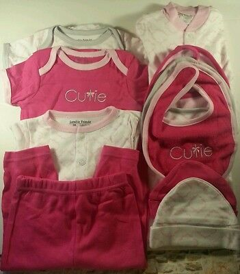 Newborn Luvable Friends Baby Girl 11 pc Clothing Set 0-6 months PINK NWOT J22*