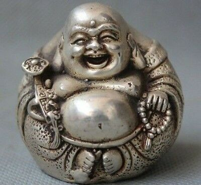 Chinese Old buddhism temple Silver wealth Happy Laugh Buddha Hold Ruyi Statue