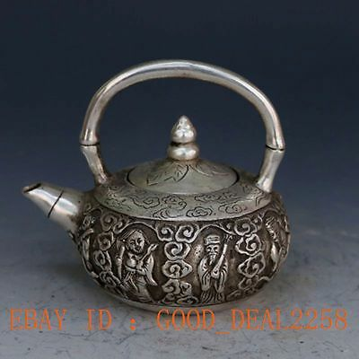 Chinese Collectible Decorated  Silver Copper Carved The Eight Immortals Tea Pot