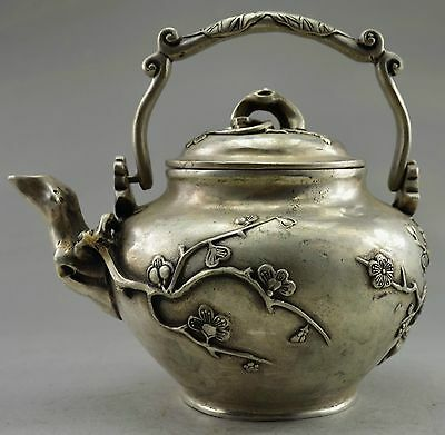 Collectible Decorated Old Handwork Tibet Silver carved Wintersweet Big Tea Pot
