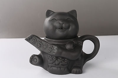 Exquisite Chinese Hand carving cat Yixing red stoneware teapot h997