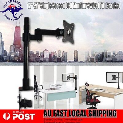 "13""-27"" LED LCD Monitor Bracket TV Computer Display Single Arm Desk Mount Stand"