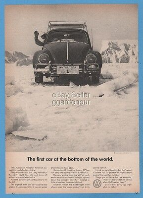 1965 VW Volkswagen Beetle First Car At The Bottom Of the World Bug Antarctica Ad
