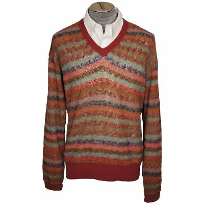 Vintage Missoni Mens Knit Pullover Sweater Multicolour Stripe Size L Tall