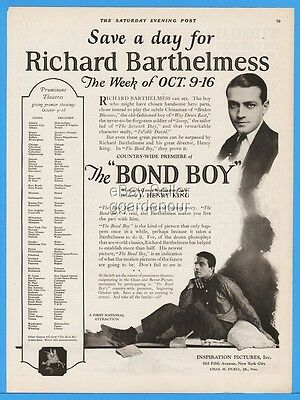 1922 Inspiration Pictures Silent Movie Richard Barthelmess The Bond Boy Print Ad