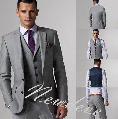 Gray Men's Wedding Suits 3Piece Groom Tuxedos Formal Groomsman Lapel Custom Made