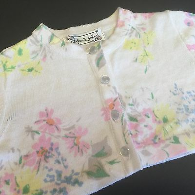 Pippa & Julie Girls LS White Floral Cropped Cardigan Sweater 18 Months NWT