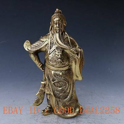 Chinese Brass Handwork Carved God Of GuanYu Statue w Qing Dynasty Mark