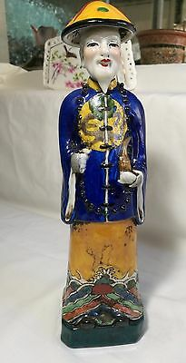 Antique Chinese porcelain Qing Dynasty man figures H26cm marked