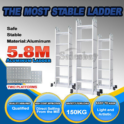 5.8M Bullet Multipurpose Ladder Aluminium Extension  Folding Adjustable Platform