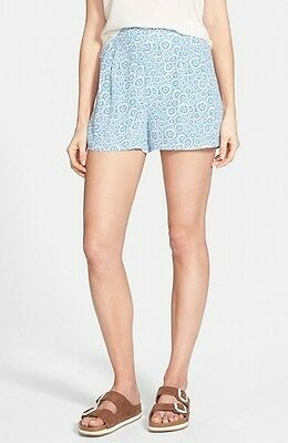 Frenchi NEW Blue Size XL Junior Floral Print High-Waist Pleated Shorts $34 188