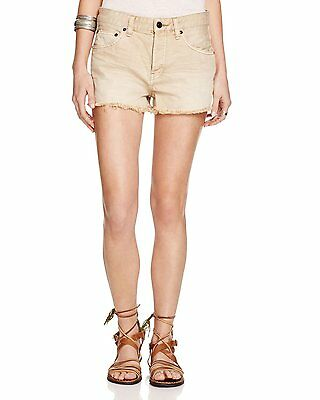 Free People NEW Beige Womens Size 27 Frayed Button Front Denim Shorts $68 229