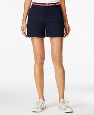 Maison Jules NEW Navy Blue Womens Size 6 Bleted Cuffed Casual Shorts $49 723