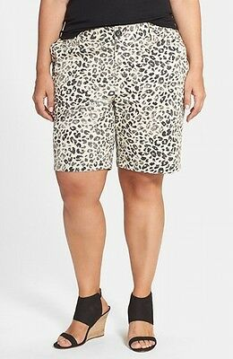Sejour NORDSTROM NEW Beige Womens Size 18W Plus Printed Bermuda Shorts $59 900