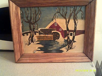 Vintage Oil On Canvas Painting Winter Scene  Solid Large Wood Frame Unsigned