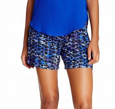 Lily White NEW Blue Navy Size Small S Junior Stretch Printed Shorts $30 726